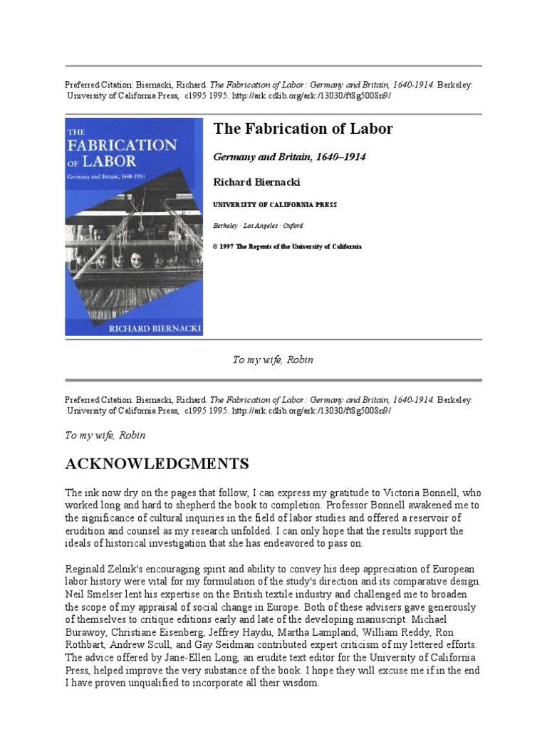 Biernacki_The Fabrication of Labor | Weaving | Cotton Mill