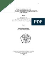 Efektifitas Implementasi Perda Nomor 2 Tahun 2007 Tentang Penanggulangan Kemiskinan