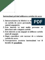 Instrucţiuni privind utilizarea cartelor de acces