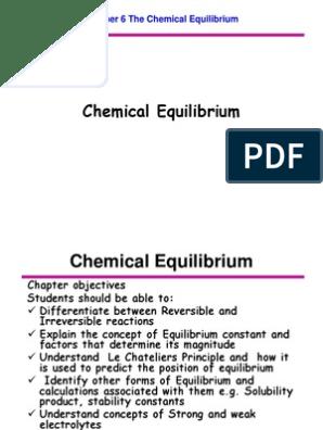 Chapter 6 Chemical Equilibrium | Acid | Chemical Equilibrium