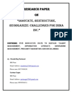 Research Paper on Innovate, Restructure, Reorganise - By Mradul & Garima