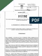 Decreto 1949 de 2012. Sistema General de Regalias