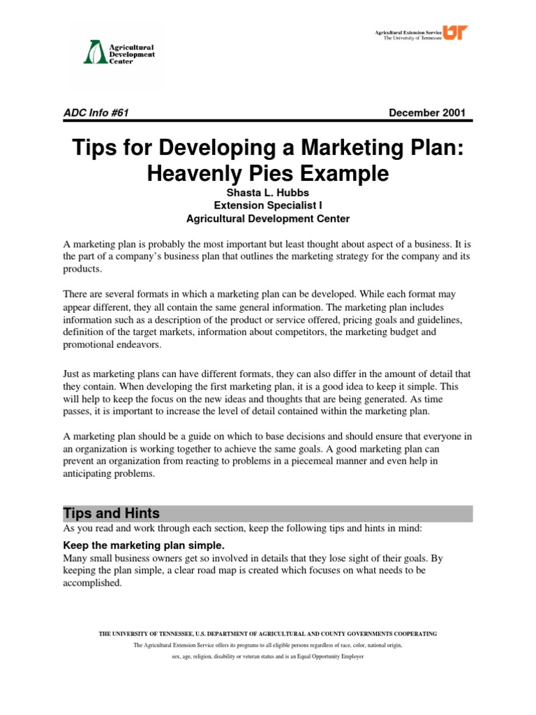 tips for developing a marketing plan heavenly pies example coupon