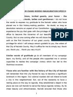 Governor Evans Kidero Inauguration Speech