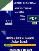 PPT. Slides of Internship Report NBP