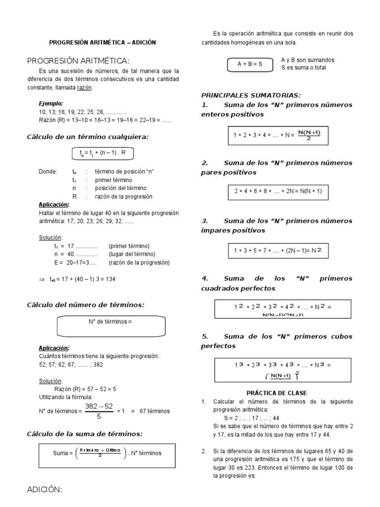 CLASE 02 PROGRESIÓN ARITMÉTICA ADICIÓN