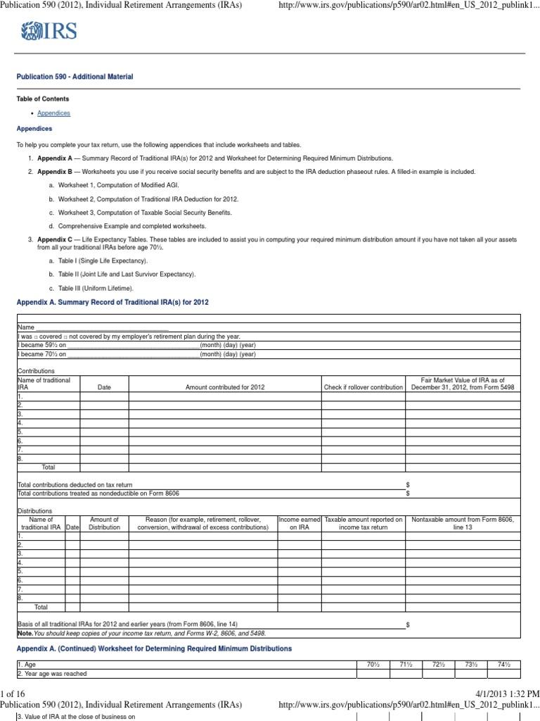 Uncategorized Social Security Worksheet publication 590 appendix c individual retirement arrangements iras account social security united stat