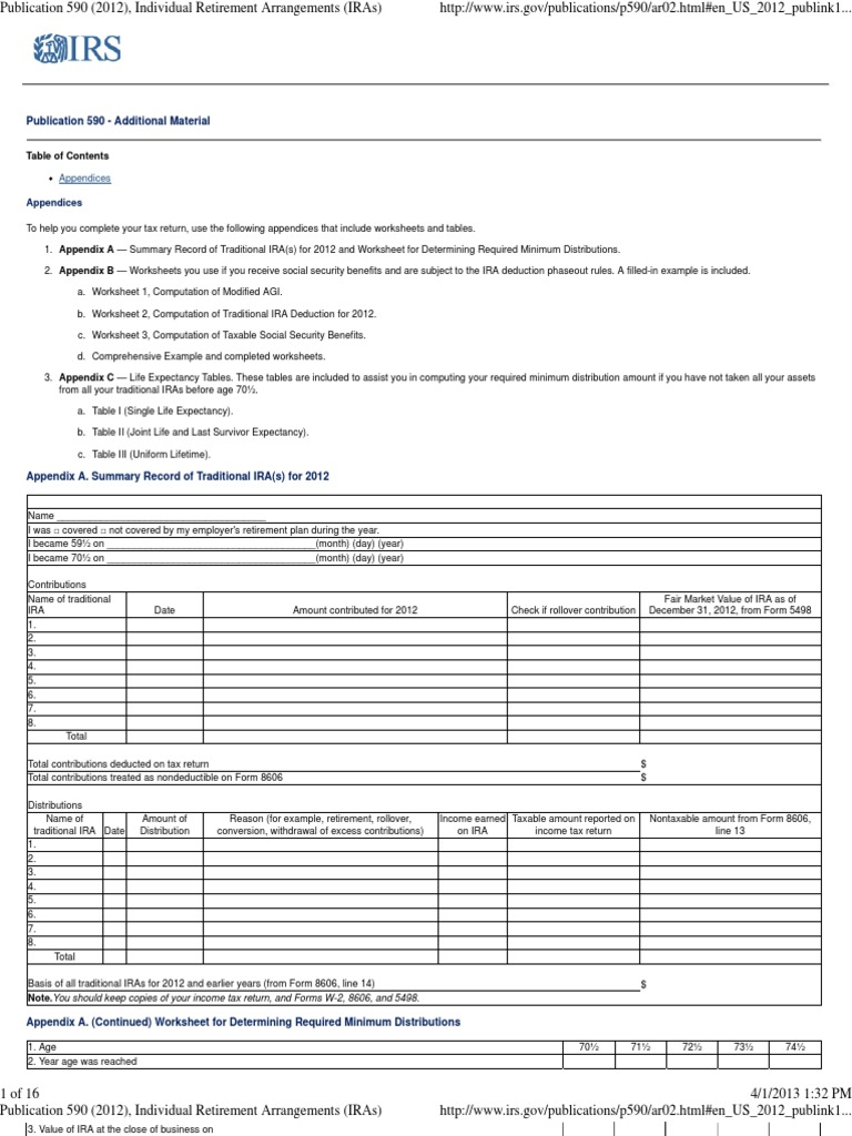 worksheet Taxable Social Security Worksheet publication 590 appendix c individual retirement arrangements iras account social security united stat