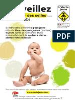 Dépliant Alerte jaune, campagne info pour le dépistage des maladies du foie chez les bébés