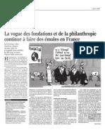 Le Monde - 07/04/2008 - La vogue des fondations et de la philanthropie continue à faire des émules en France