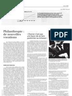 Patrimoine - 03/2008 - Les dons progressent en France / Philanthropie