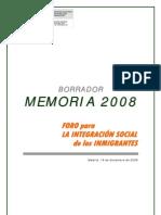 Borrador Memoria Foro Integracion 2008