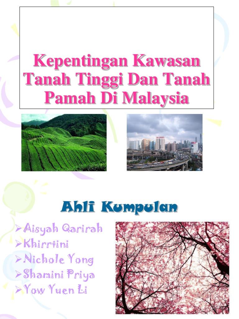 Kepentingan Kawasan Tanah Tinggi Dan Tanah Pamah Di