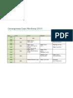 Cronograma Copa Mechona 2013