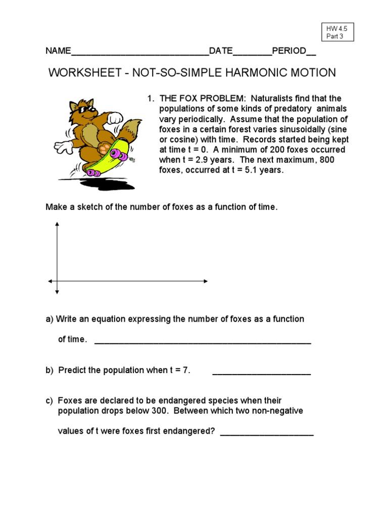 worksheet Simple Harmonic Motion Worksheet Fiercebad Worksheet – Simple Harmonic Motion Worksheet