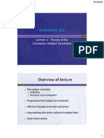 Economics 102 Lecture 2 Budget Constraint Rev