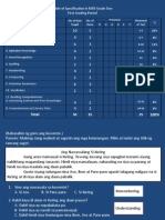 Table of Specification in MTB Grade 1