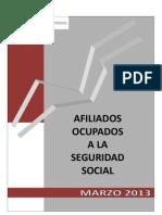 Datos de afiliación a la Seguridad Social Marzo 2013