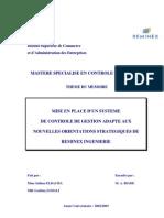 Mise en Place d'Un Systeme de Controle de Gestion Adapte Aux Nouvelles Orientations Strategiques de Reminex Ingenierie