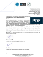 Communication to the Committee of Ministers of the Council of Europe concerning Alekseyev v. Russia (application no. 4916/07)