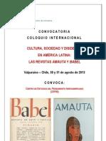 Convocatoria Coloquio Babel Amauta 2013