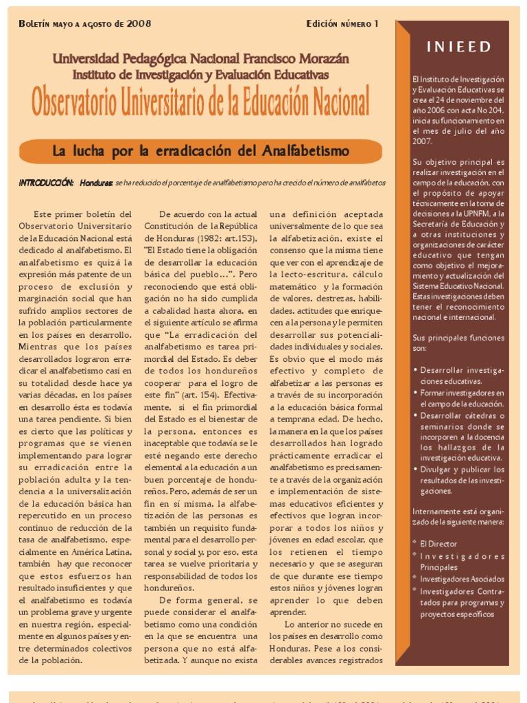 Analfabetismo En Honduras 78