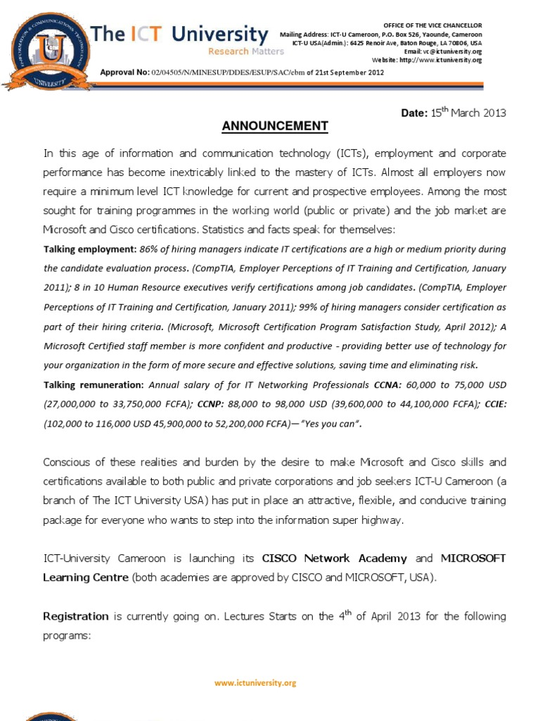 Ictu Cisco And Microsoft Certification Programannouncement Comp