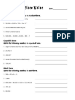finding my place value - worksheet