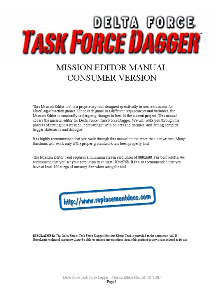 Delta Force 4 - Task Force Dagger - Mission Editor Manual - PC