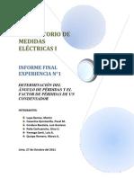 Determinación del ángulo de pérdidas y factor de pérdidas de un condensador