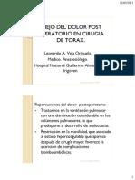 Manejo Dolor Postoperatorio CirugiaTorax Nacional Guillermo Almenara