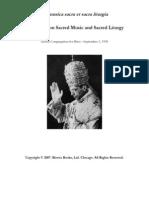 De Musica Sacra Et Sacra Liturgia