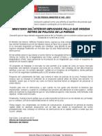 02.04.13 MINISTERIO DEL INTERIOR IMPUGNARÁ FALLO QUE ORDENA RETIRO DE POLICÍAS DE LA PARADA