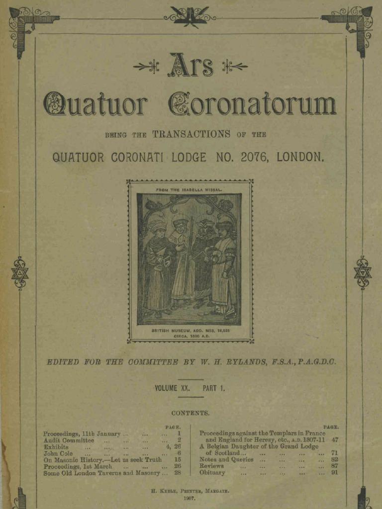 ars quatuor coronatorum vol 20 1907 freemasonry
