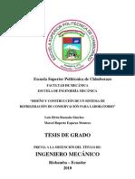 DISEÑO Y CONSTRUCCIÓN DE UN SISTEMA DE REFRIGERACION DE CONSERVACION PARA LABORATORIO