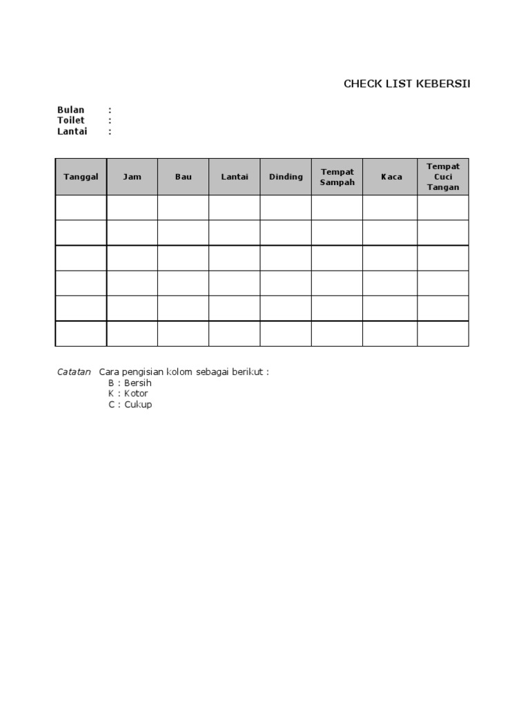 Checklist Kebersihan Toilet Xls