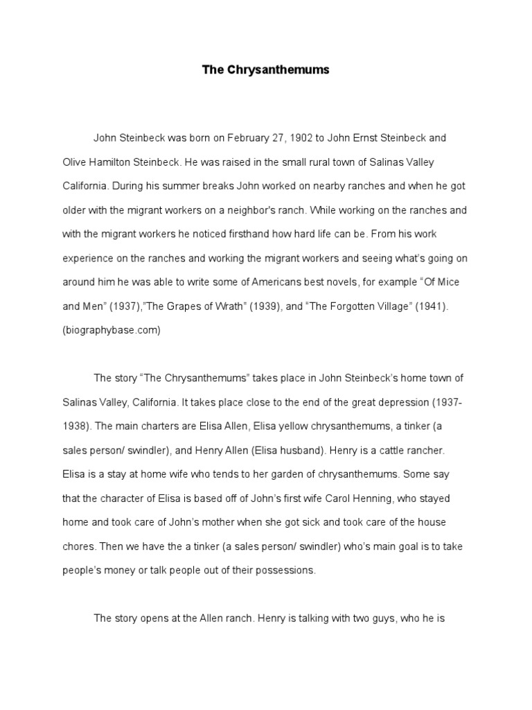What Is Thesis In Essay  Essays Papers also Thesis For Persuasive Essay The Chrysanthemums By John Steinbeck  John Steinbeck Health Essay