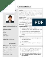 CV Format Summer Internship