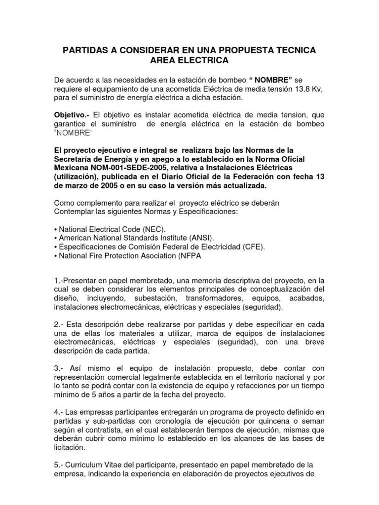 Informacion Para Propuesta Tecnica-economica Area Electrica