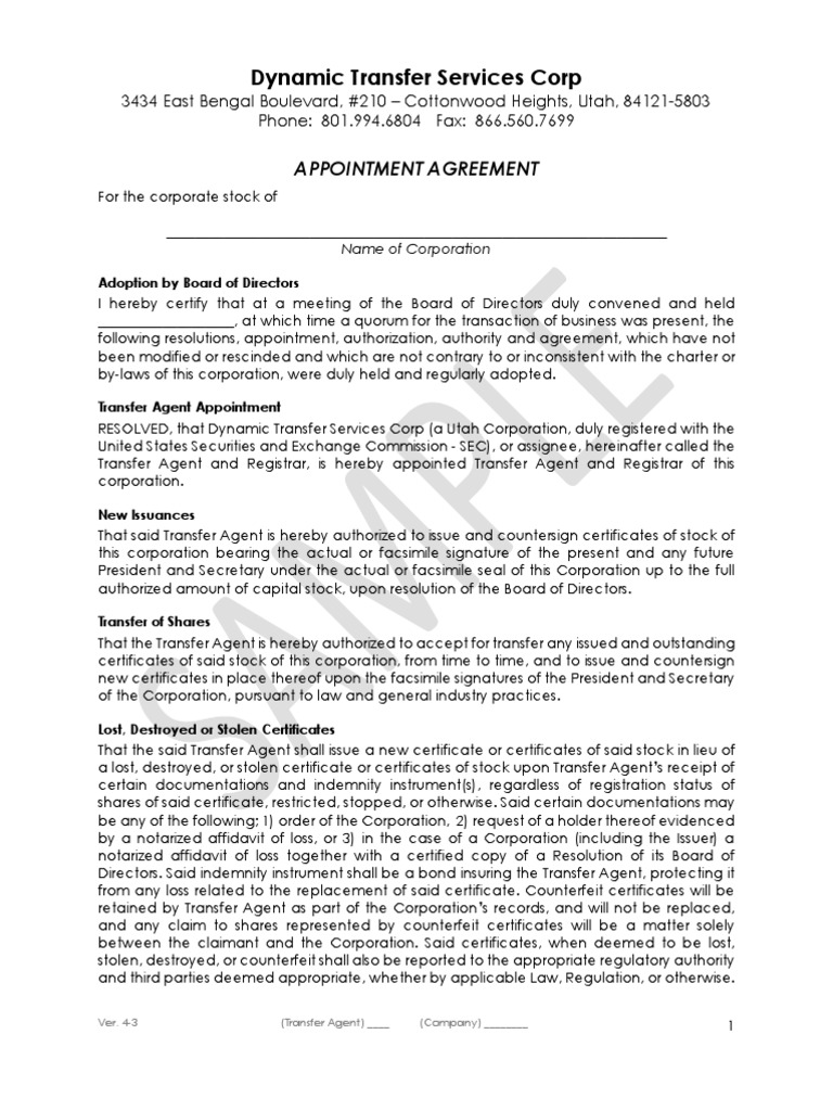 Dtsc Appointment Agreement V4 3 Sample Law Of Agency Uniform