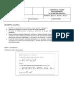 GUÍA PARA EL EXAMEN  EXTRAORDINARIO g. analítica 11