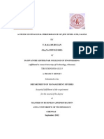 A Study on Financial Performance of Jsw Steel Ltd