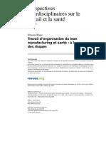 Pistes 2556-14-2 Travail d Organisation Du Lean Manufacturing Et Sante a La Source Des Risques