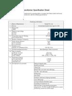 2.(a) Transformer Specification Sheet