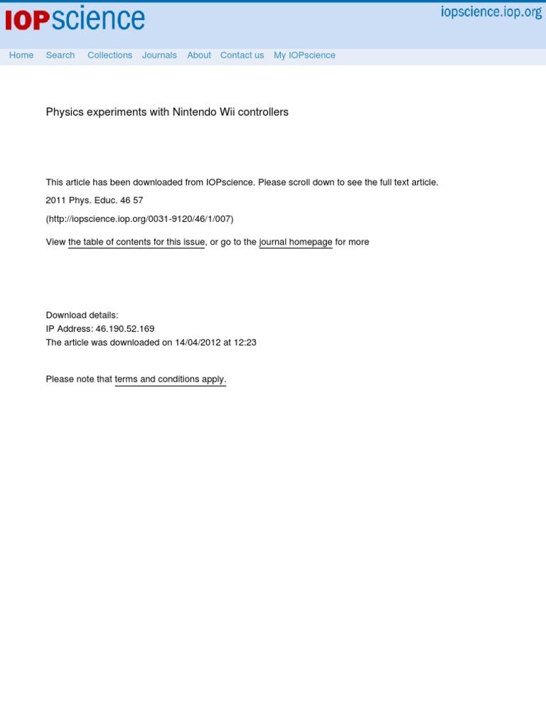 Wiimote Physics | Accelerometer | Acceleration