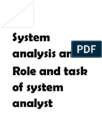 System Analysis & Task of system analyst
