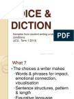 VOICE & DICTION Samples of Student Writing