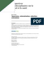 Pistes 2612-14-2 Taylorisme Rationalisation Selection Orientation