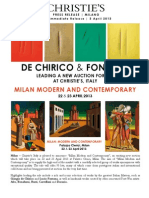 Christie's Announces 'milan Modern And Contemporary' - Led By Major Works By De Chirico & Fontana