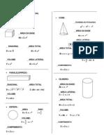 Geometria Espacial- Formulas
